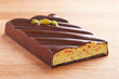 Dark chocolate bar with pistachio and strawberry