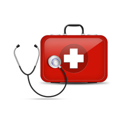 stethoscope with red First Aid kit. Illustration