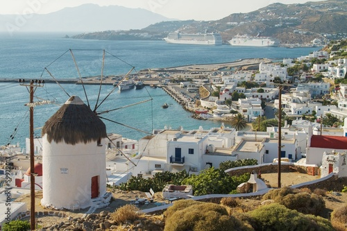 Mykonos, Greece.with windmill and cruise ships