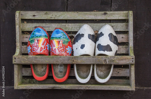 Wooden shoes in a rack