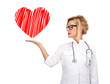 woman doctor holding heart