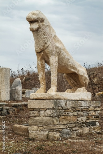 Statue of lion on island of Delos