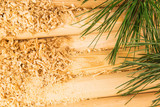 Wooden sawdust, logs and pine branches