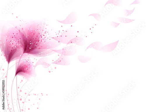 vector background with pink flowers - 59922852