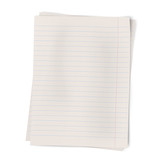 Close up view of two sheets of lined paper lying on each other