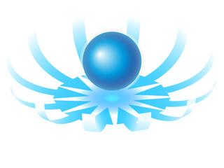 sfera centrale con frecce circolari