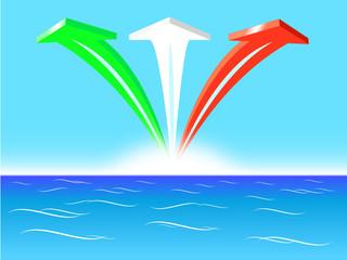 Tre freccie tricolore con bandiera italiana