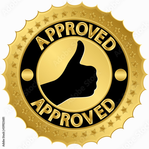 Approved golden label, vector illustration