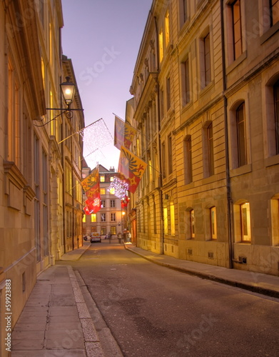 Street in old Geneva, Switzerland (HDR)