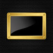 Golden frame with screws on abstract metallic background