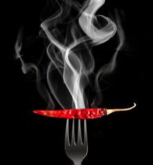 Chilli pepper with smoke