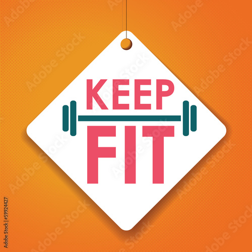 Keep Fit - Vector Paper tag / sticker