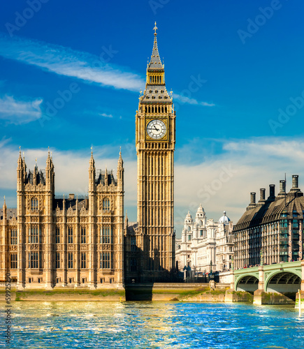 The Big Ben, the House of Parliament and the Westminster Bridge