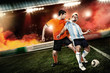 Soccer player kicked to the face other player