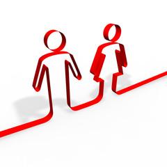 Simbolo uomo e donna segno silhouette nastro