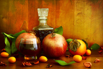 Persimmon, pomegranate and citrus fruits