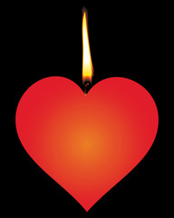 Candle in the form of red hearts