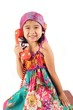 Little gypsy girl talking on phone