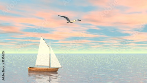 Small sailboat - 3D render