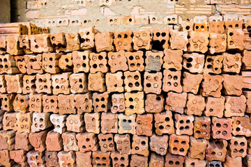 brick kiln. collection set of red bricks stack in oven factory b