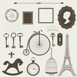 Vintage objects silhouettes vector set.