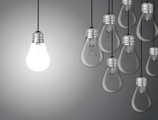 Idea concept with light bulbs in illustration vector