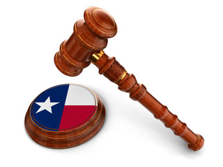 Wooden Mallet and flag Of Texas (clipping path included)