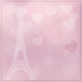 Romantic background with eiffel tower and hearts.
