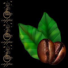Coffee beans with leaves isolated on a black background