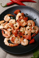 Shrimps. Heap of shrimps on the dish