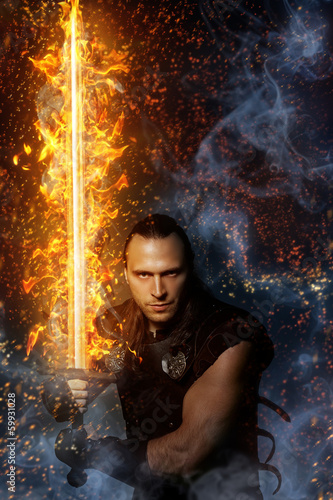 Wizardry, magic. Lone warrior with fire sword