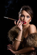 Vintage, retro. Beautiful, attractive woman wearing fur