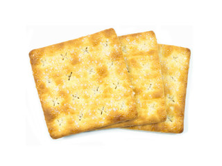 Stack of sugar crackers isolated on the white background. food s