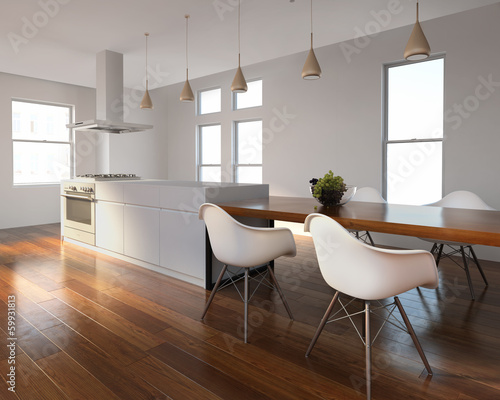 Urban interior white and wood kitchen