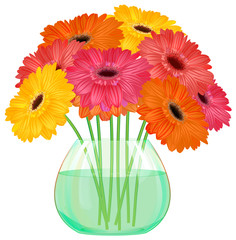 bouquet of gerbera in  vase