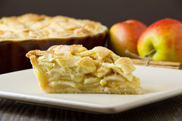 Slice of apple pie, tight and horizontal