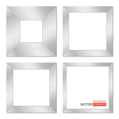 Set Of Vector Frames With Metal Texture