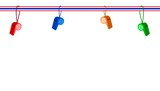 Four Whistles Hanging on A Stripe Ribbon