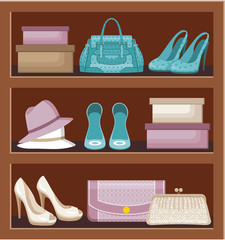 Shelf with bags and shoes.