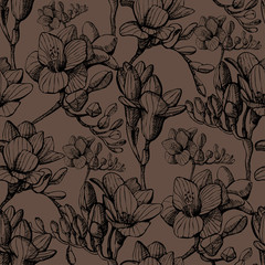brown sketch flower seamless
