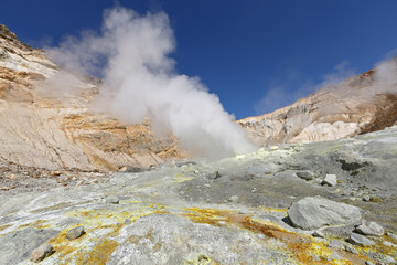 In crater of active volcano of Kamchatka