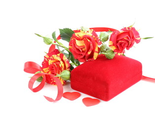 fresh roses and gift box for the holiday Valentines Day