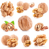 Collection of Walnut and a cracked walnut isolated on the white