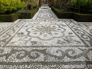 Mosaic Garden Pathway And Fountain
