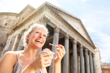 Girl eating ice cream by Pantheon, Rome, Italy