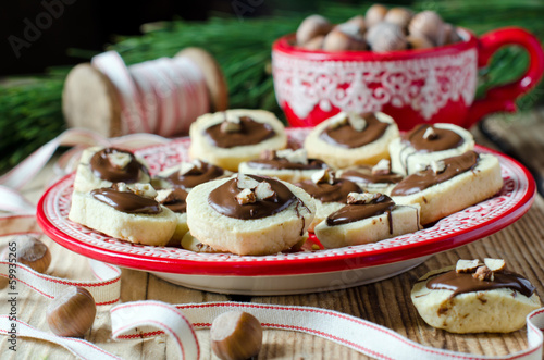 Christmas cookies with chocolate and nuts