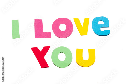 I love you text - white background