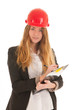 Female builder with helmet