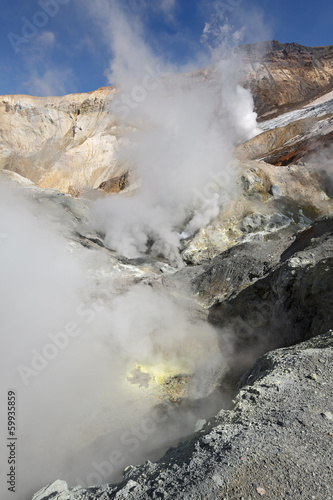 In crater of active volcano of Kamchatka