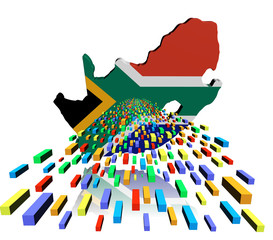 South Africa map flag reflected with containers illustration
